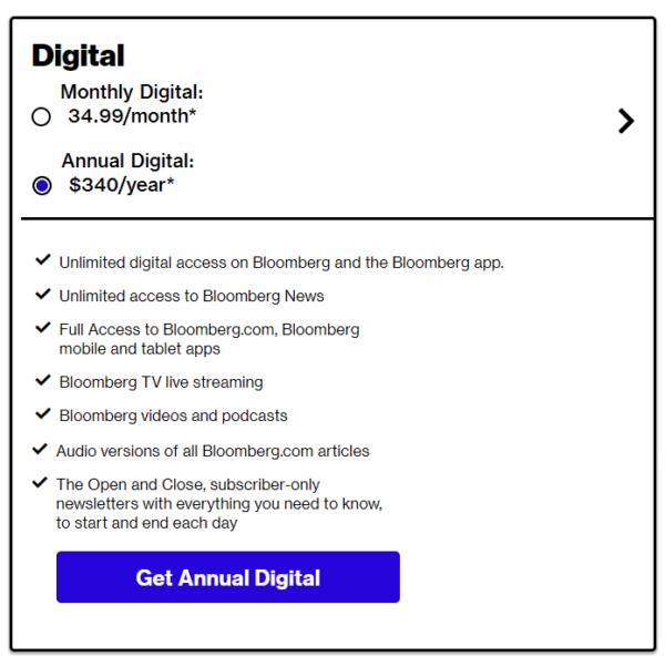 Digital Subscription Price List Bloomberg